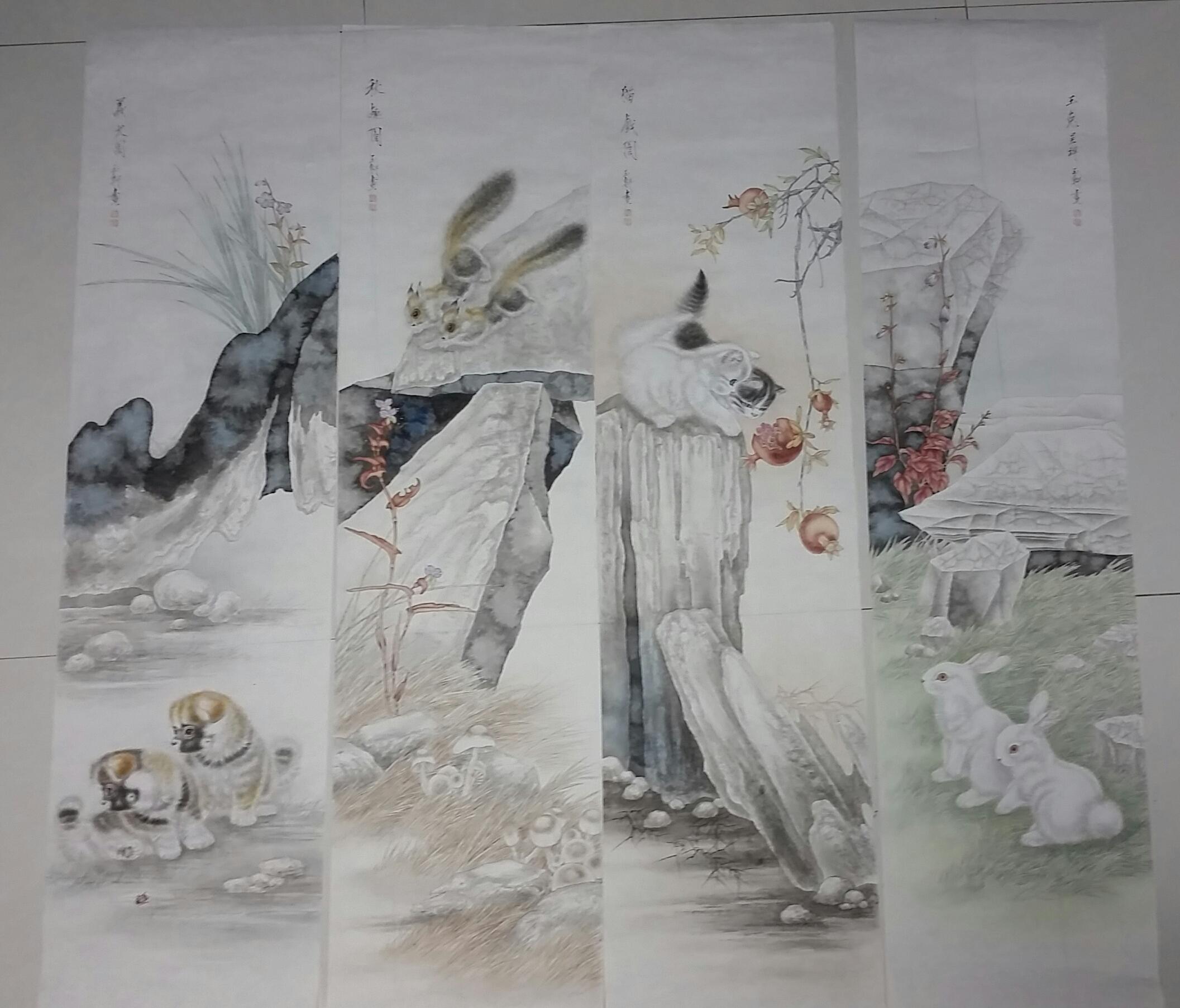 耿玉轩--小动物四条屏(工笔)